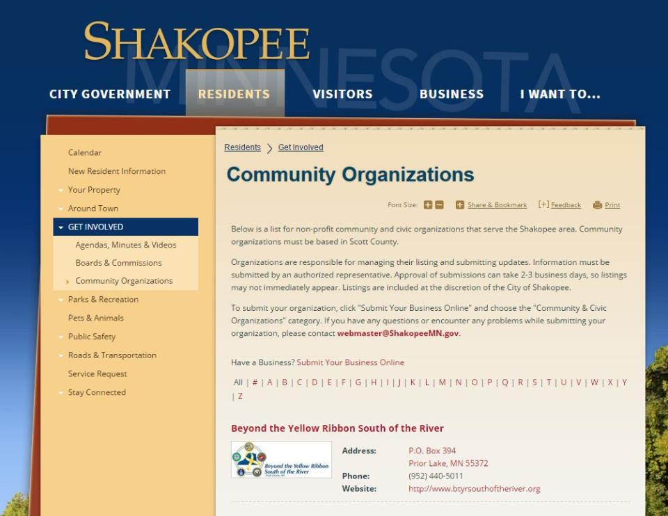 Screenshot of Community Organizations Directory page