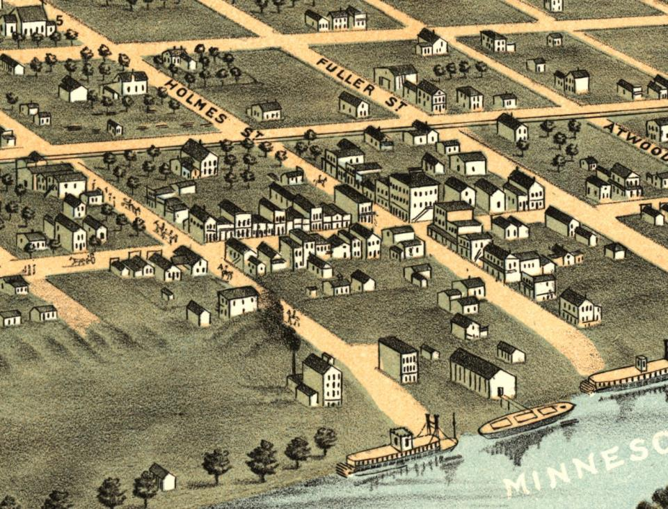 Drawing of Downtown Shakopee in 1869