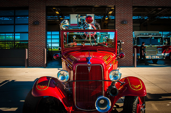 Old fire truck at station