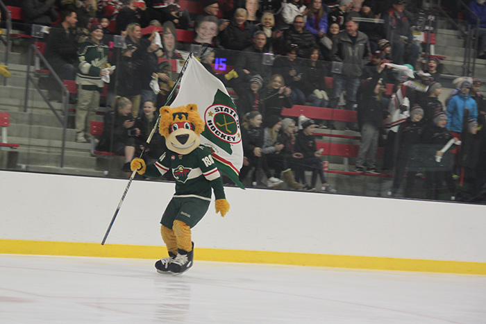 Minnesota Wild mascot Nordy skating with flag