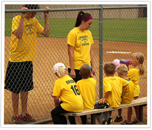 Kids in the dugout at T-Ball