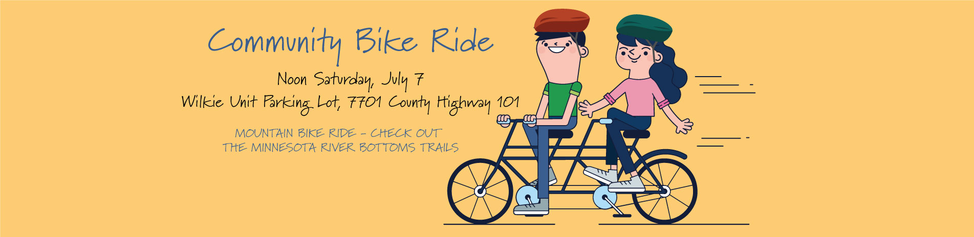 Community Bike Ride Poster showing cartoon drawing of two people riding a bike
