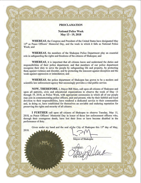 Proclamation: May 13-19 is Police Week