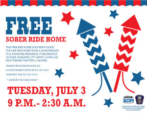 Coupon for free sober ride home
