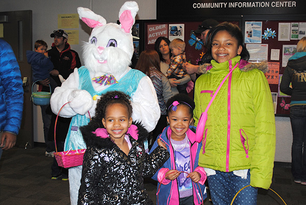 Three girls with Easter Bunny