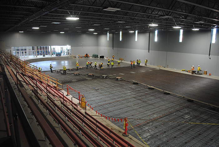 Pouring concrete in Rink 1
