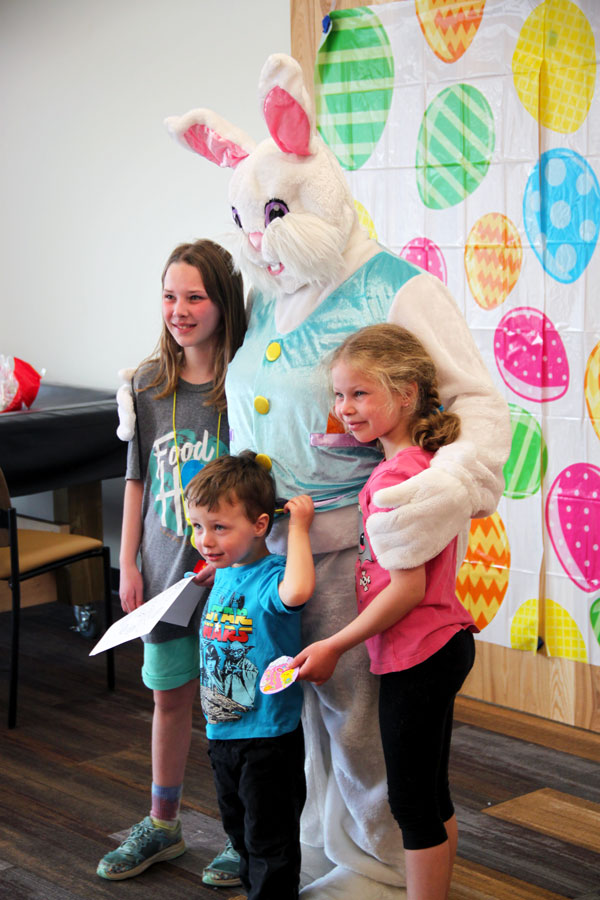 Family with Easter bunny