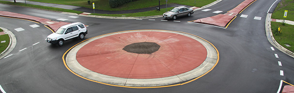 Cars driving through roundabout