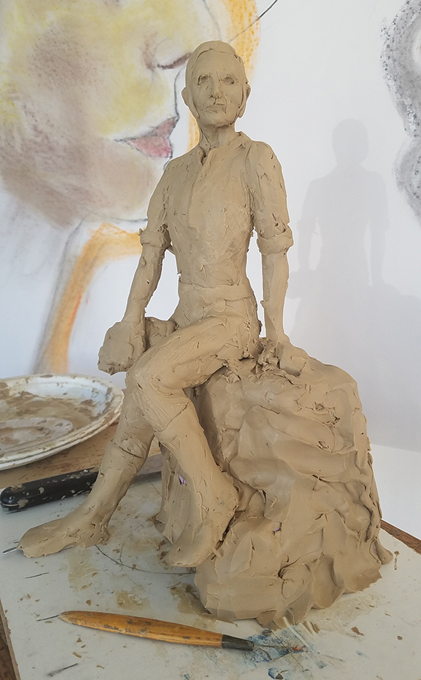 Mock up in clay of statue