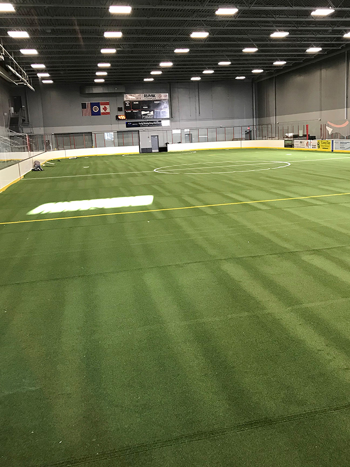 New turf and lines on rink floor