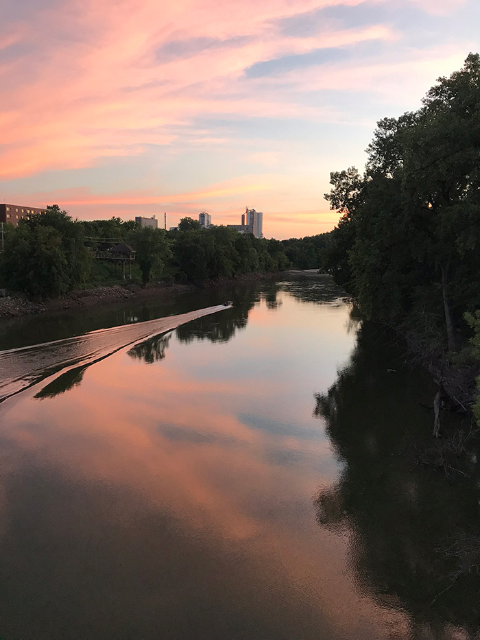 Sunset view from Holmes Street Bridge