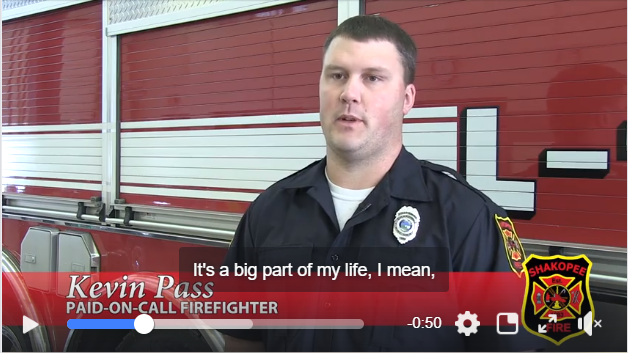 Firefighter talking on camera