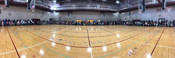 Panorama shot of gym with candy