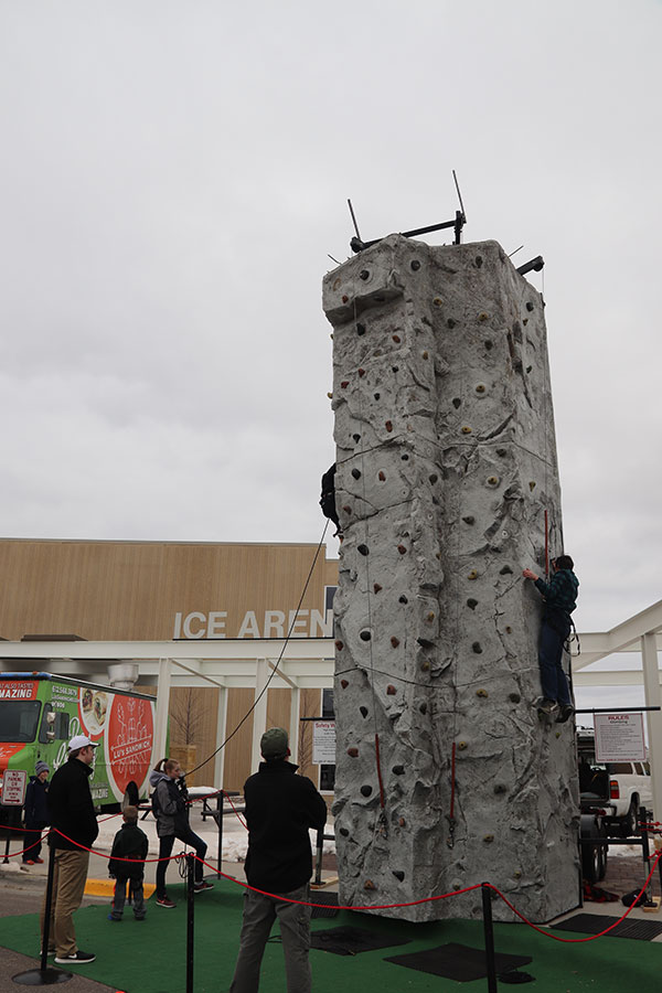 Climbing wall outside ice arena