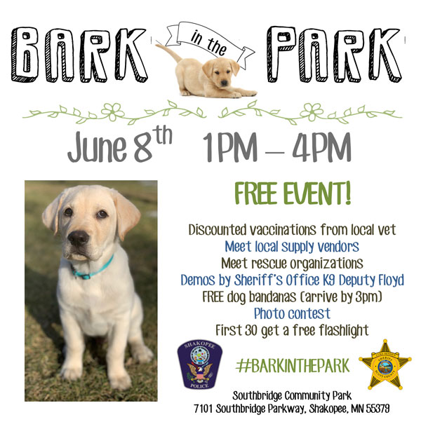 Flyer with information about Bark in the Park and a picture of a yellow lab puppy