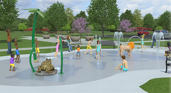 Rendering of kids playing in splash pad water