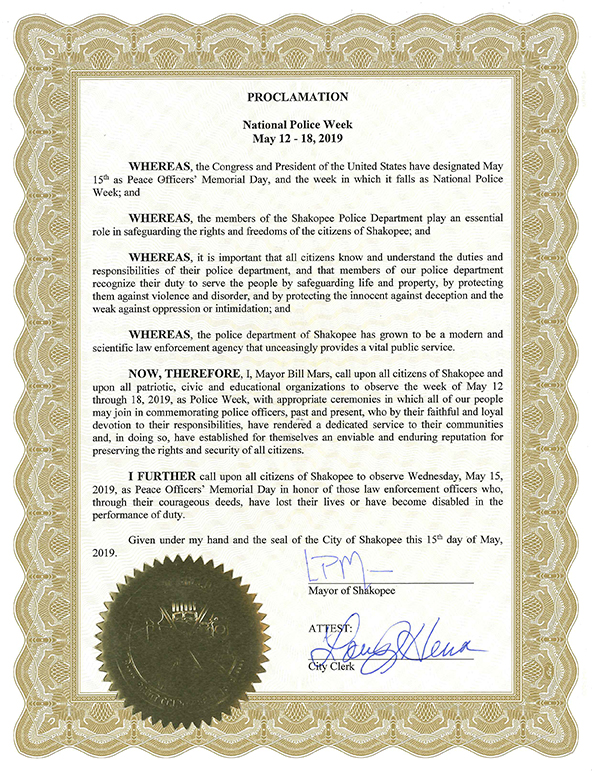 National Police Week Proclamation