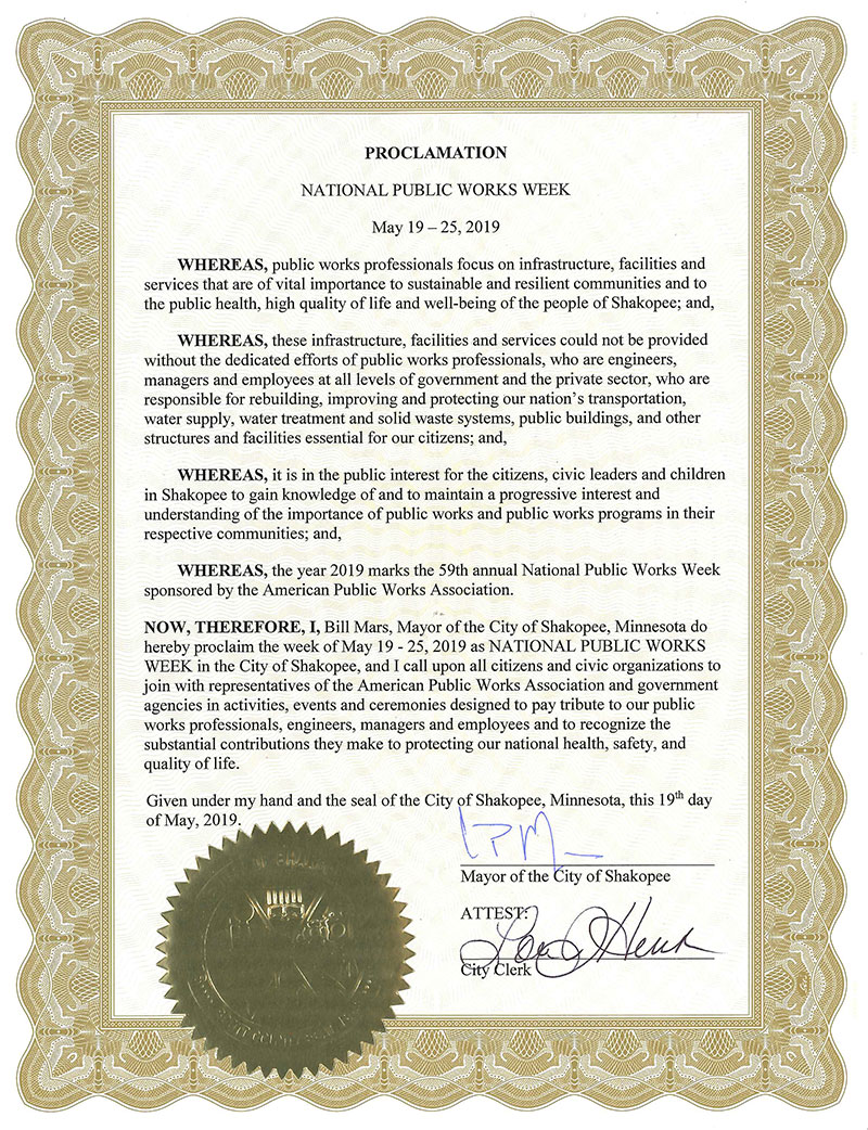 Mayoral Proclamation with seal declaring in National Public Works Week, May 19-25, 2019