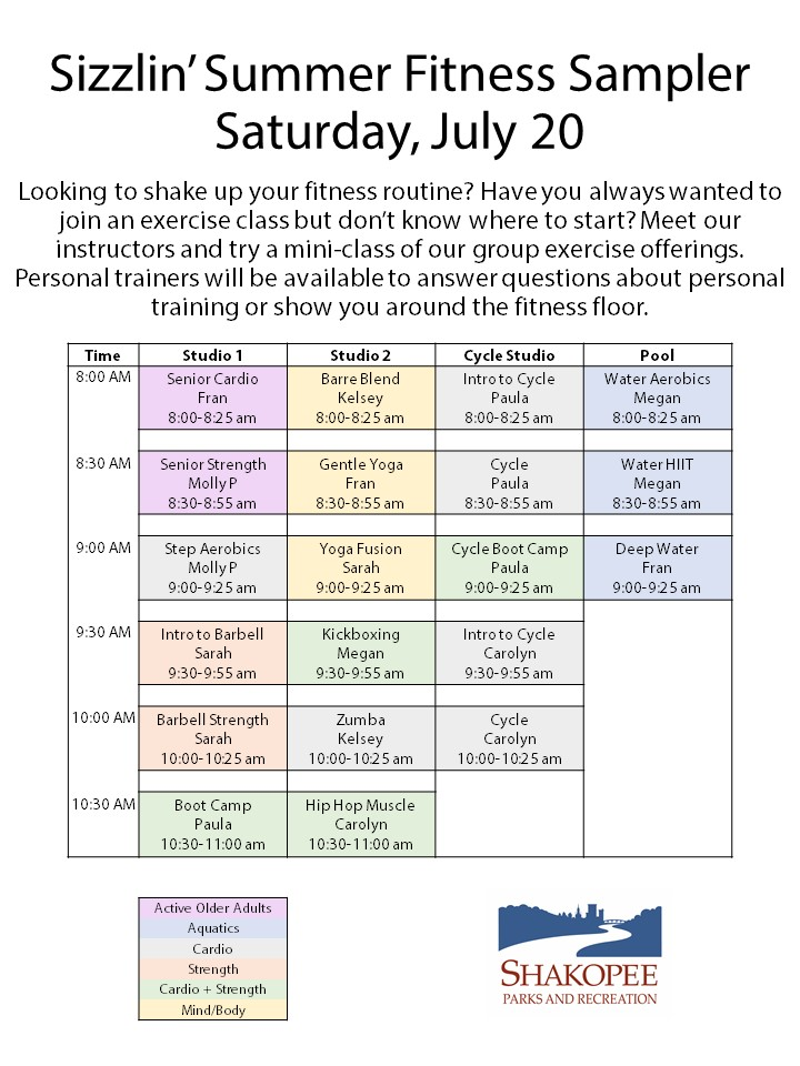 Schedule of fitness classes