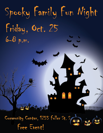 Poster advertising Spooky Family Fun Night