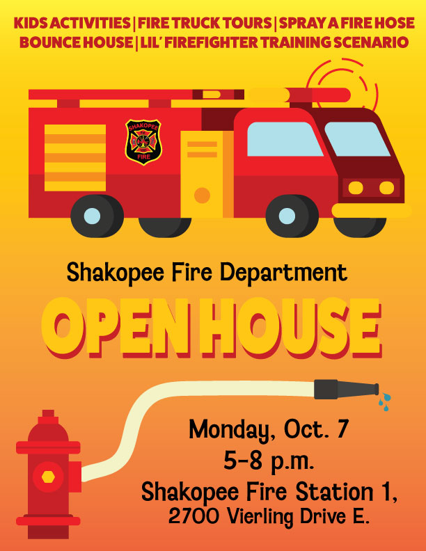Poster with information about fire open house