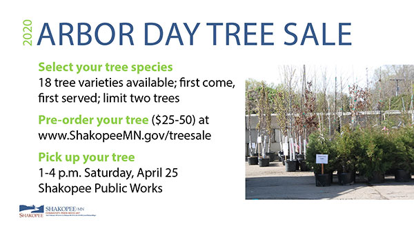 Flyer with text and photo of trees in containers